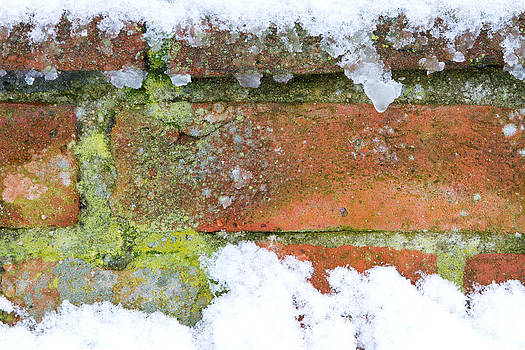 Fizzy Image - brick background with snow and ice upon