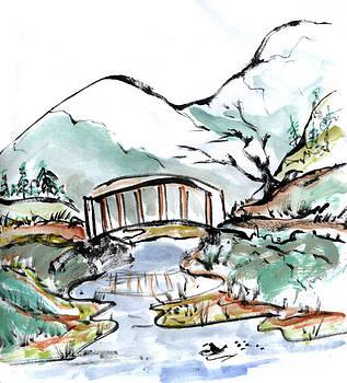 Ellen Miffitt - Bridge and Ducks in Slow Water