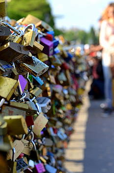 Bridge Of Love Padlocks Paris  by Riad Belhimer