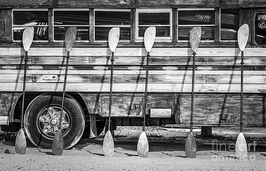 Ian Monk - Bright Colored Paddles and Vintage Woodie Surf Bus - Florida - Black and White