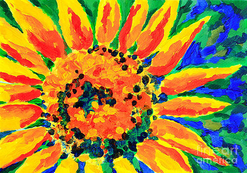 Beverly Claire Kaiya - Bright Colorful Single Sunflower Acrylic Painting