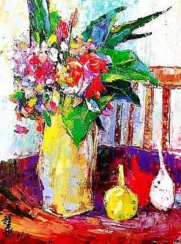 Bright flowers and fruit still life by Siang Hua Wang