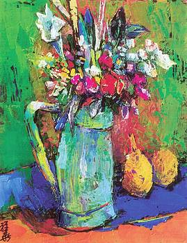 Bright flowers in green pitcher by Siang Hua Wang