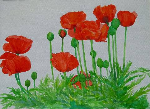 Red Poppies Colorful Flowers Original Art Painting Floral Garden Decor Artist K Joann Russell by Elizabeth Sawyer