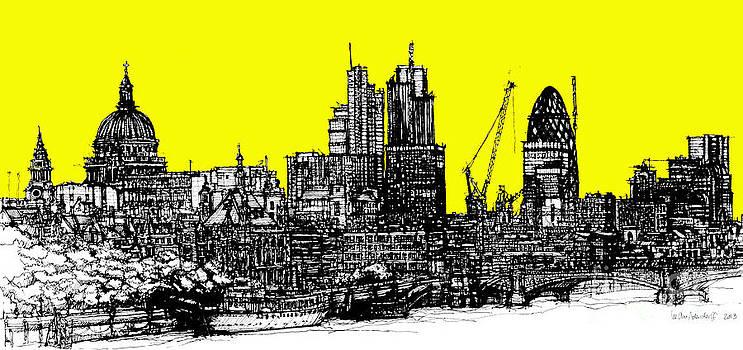 Dark Ink with bright yellow London skies by Adendorff Design