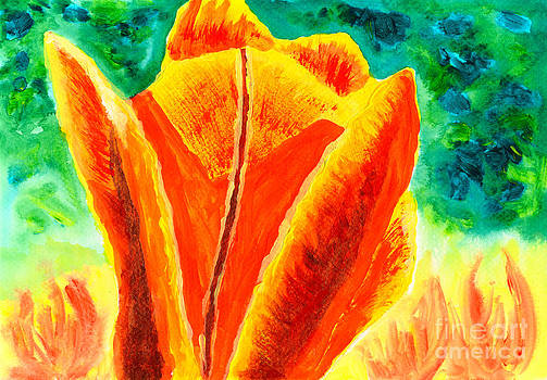 Beverly Claire Kaiya - Bright Yellow Orange Tulip Acrylic Painting