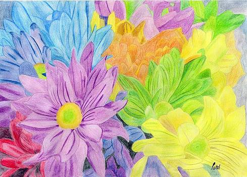 Brightly Coloured Flowers by Bav Patel