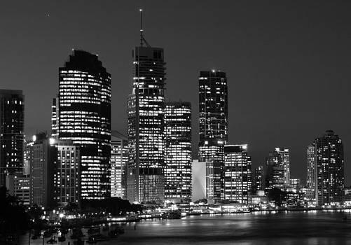 Brisbane by Night Black and White 2 by Carl Koenig
