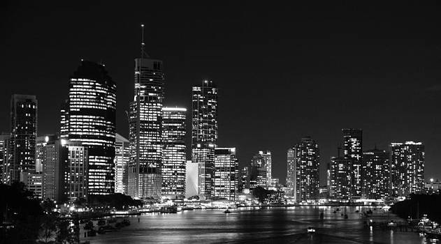Brisbane by Night Black and White by Carl Koenig