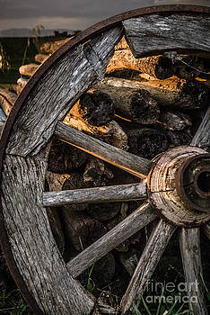 Peter Noyce - Broken cart wheel with missing spoke and logs on a farm at Pacia