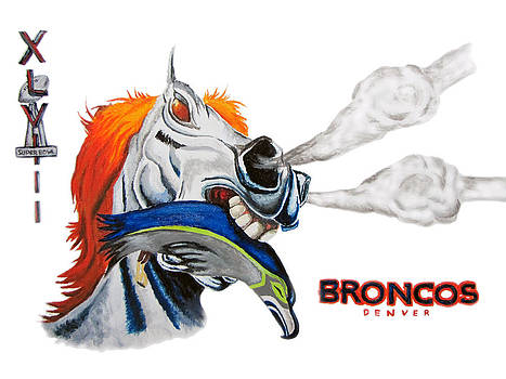 Broncos in Super Bowl XLVIII by Angela Hannah
