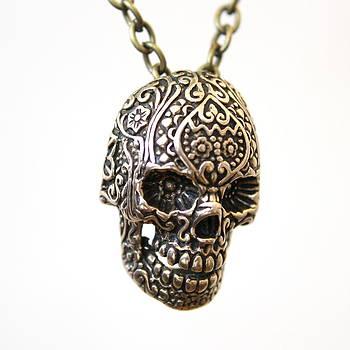 Bronze Sugar Skull Necklace by Michael  Doyle