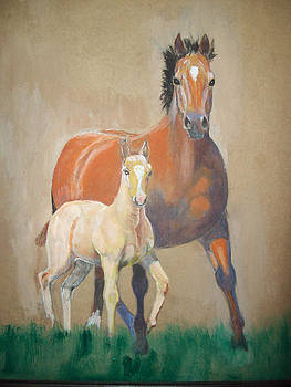 Broodmare and foal by Kendrew Lascelles
