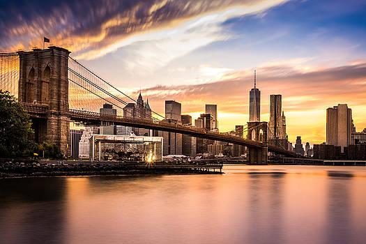 Brooklyn Bridge at sunset  by Mihai Andritoiu