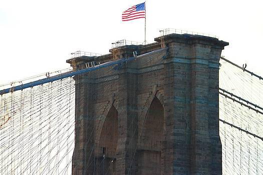 Brooklyn Bridge Flag by Keith  Harden