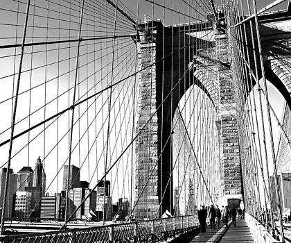 Brooklyn Bridge Skyline BW by Denise Rafkind
