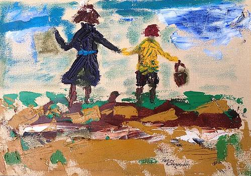 Roger Cummiskey - Brother and Sister Playing in the field.