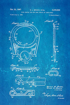 Ian Monk - Brown Can Ring Pull Patent Art 1967 Blueprint