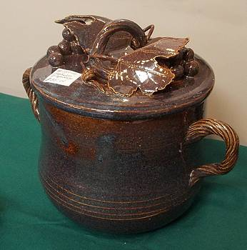 Brown Jar with Grape Design Lid by Carol Miller