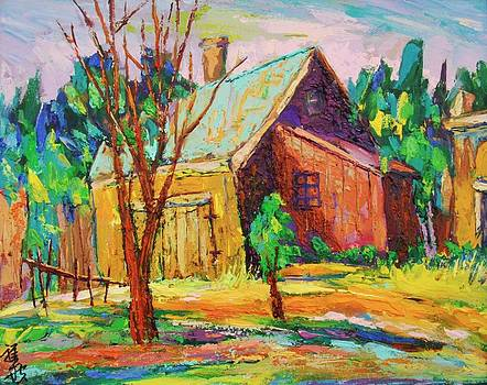 Brown red barn with green roof by Siang Hua Wang