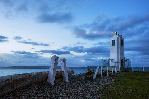 Browns Point Light - Blue Hour by Ryan Manuel