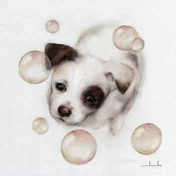 Bubbles and Puppy Nursery Art by Junko Van Norman
