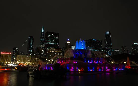 John Daly - Buckingham Fountain Blue and Purple Skyline