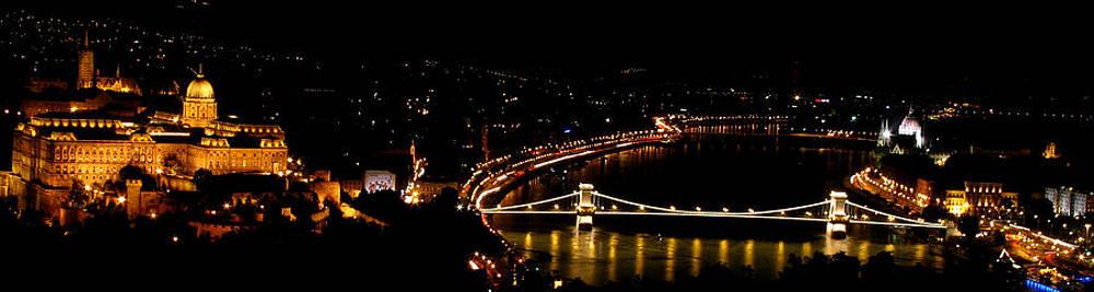 Budapest Panorama Chain bridge Palace  by Mahsa Watercolor Artist