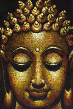 Buddha Head Black Velvet Painting by Diane Bombshelter