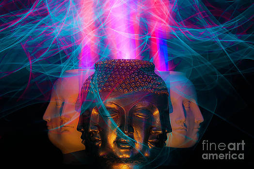 Buddha with many faces by Shawn  Bowen