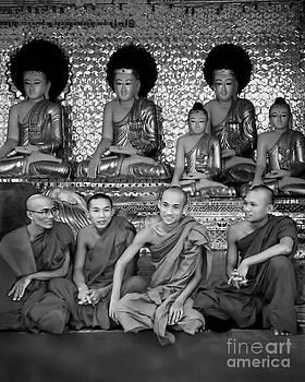Buddhas and Monks in Burma..BW by Jennie Breeze