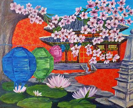 Buddhist Temple in South Korea with more flowers by Karen Lucas