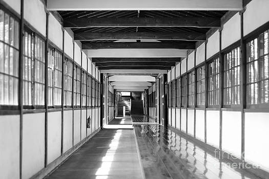 Beverly Claire Kaiya - Buddhist Temple in Black and White - Passageway