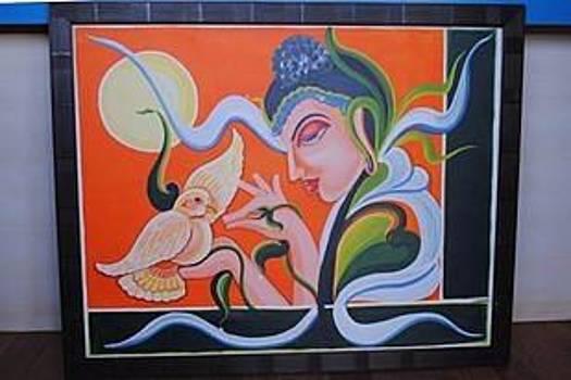 Budha n love bird by Ramesh Chandra