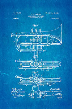 Ian Monk - Buescher Epoch Cornet Wind Instrument Patent Art 1901 Blueprint