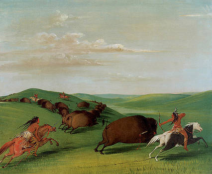 George Catlin - Buffalo chase with Bows and Lances