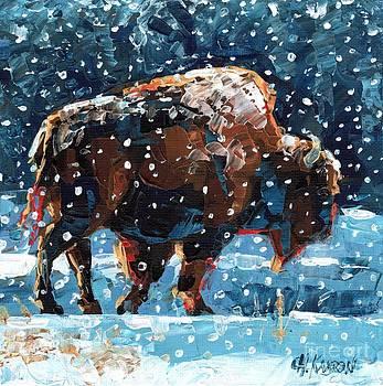 Buffalo in Snow by Christine Karron