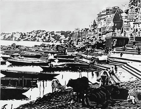 Buffalos In The Ganges by Konstantinos-Pimba Botas