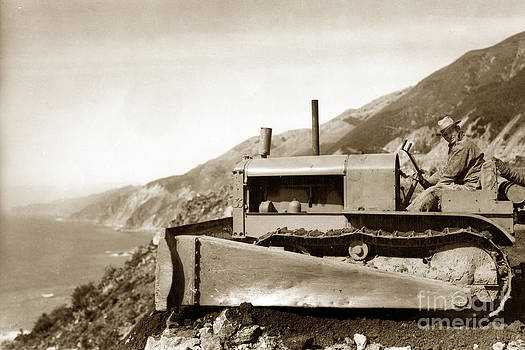 California Views Mr Pat Hathaway Archives - Bull dozer road construction on Highway One Big Sur Circa 1930