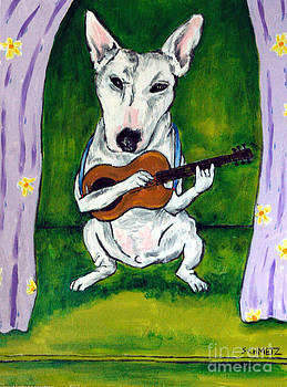 Bull Terrier playing Guitar by Jay  Schmetz
