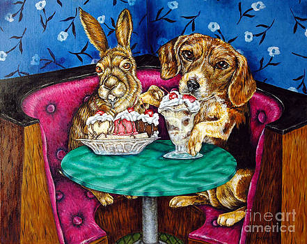 Bunny and Beagle on a Date by Jay  Schmetz