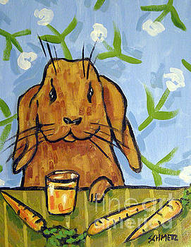 Bunny Drinking Carrot Juice by Jay  Schmetz