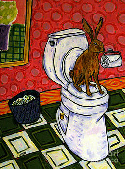 Bunny in the Bathroom by Jay  Schmetz