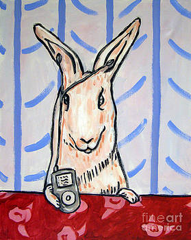 Bunny listening to Music on an I pod by Jay  Schmetz