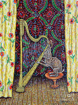 Bunny Playing Harp by Jay  Schmetz