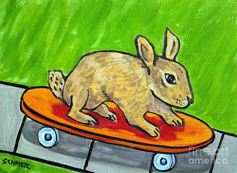 Bunny Skateboarding by Jay  Schmetz