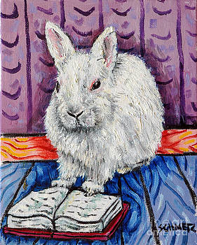 Bunny white Rabbit Reading a Book by Jay  Schmetz