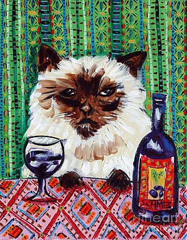 Burmese Cat at the Wine Bar by Jay  Schmetz