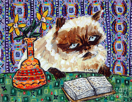 Burmese Cat Reading at the Library by Jay  Schmetz