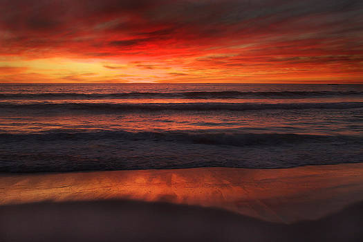 Burning Red Sunset by Ed Pettitt